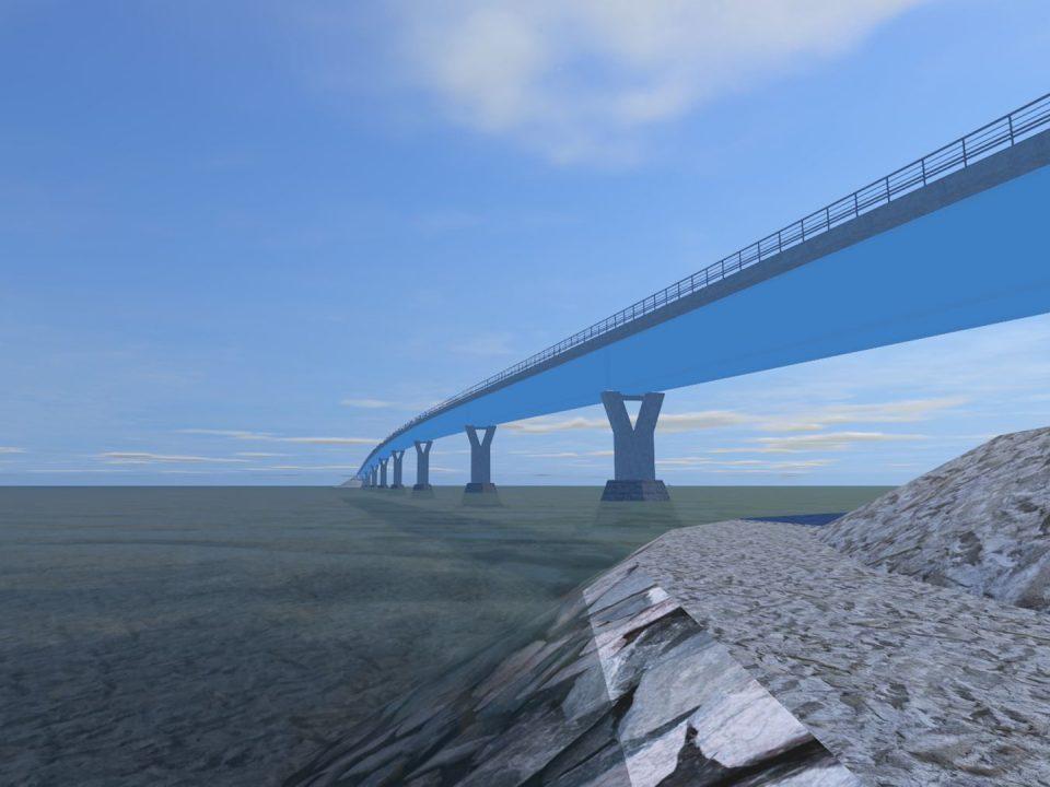 Havainnekuva Hailuodon kiinteän yhteyden sillasta. Kuva: Sitowise